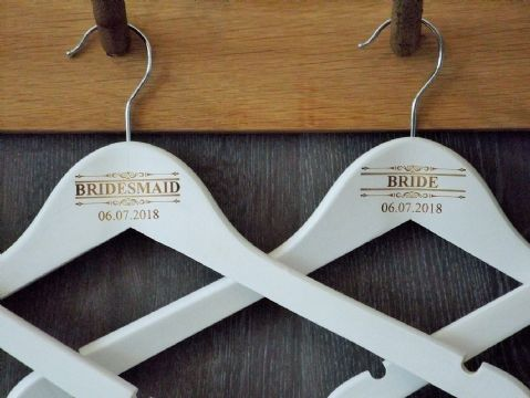 Personalised White Wooden Wedding Hanger Bride Bridesmaid - Scroll